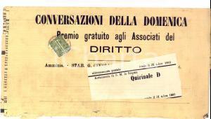 1889 STORIA POSTALE Fascetta CONVERSAZIONI DELLA DOMENICA orario treni TORINO