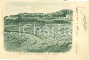 1908 SIRACUSA teatro Greco con vista da Strada dei Sepolcri *Cartolina FP VG
