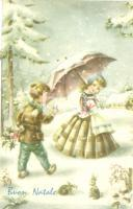 1962 PICCOLI INNAMORATI Bambino con vischio per Natale *Cartolina FP VG