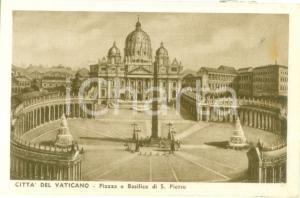1935 ca CITTA' DEL VATICANO Piazza e Basilica di San Pietro *Cartolina FP NV