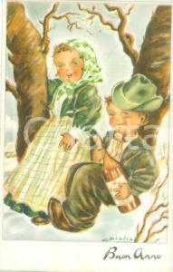 1955 ca BUON ANNO Piccoli montanari festeggiano Capodanno *Cartolina ILLUSTRATA