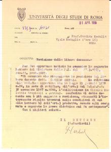 1950 ROMA Università degli Studi AUTOGRAFO Rettore Giuseppe CARDINALI *Lettera