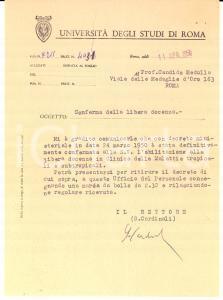 1950 ROMA Università degli Studi AUTOGRAFO Rettore Giuseppe CARDINALI Lettera