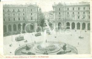 1918 ROMA Tram in Piazza dell'Esedra Via Nazionale *Cartolina FP VG