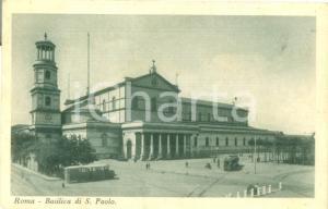 1938 ROMA Tram alla Basilica di SAN PAOLO *Cartolina FP VG