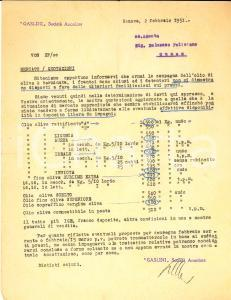 1951 GENOVA Società Anonima GASLINI Listino prezzi olio d'oliva *Documento