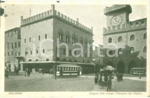 1929 BOLOGNA Tram in Piazza Vittorio Emanuele Palazzo Notai *Cartolina FP VG