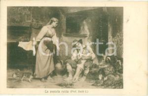 1915 ARTE Luigi BECHI La pentola rotta *Cartolina postale FP VG