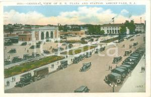 1929 ASBURY PARK (USA) View of R.R. Plaza and Station *Cartolina FP VG