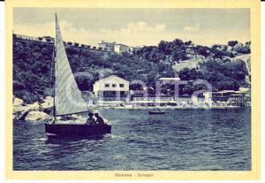 1940 ca NUMANA (AN) Veduta della spiaggia *Cartolina ANIMATA con barca FG