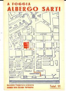 1950 ca FOGGIA Albergo SARTI - Mappa *Cartolina pubblicitaria ILLUSTRATA FG NV