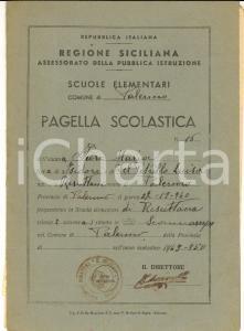 1950 PALERMO RESUTTANA Pagella Maria FIORE Scuola elementare *DANNEGGIATA