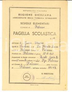 1951 PALERMO Scuola elementare Nicolò GARZILLI - Pagella di Maria FIORE