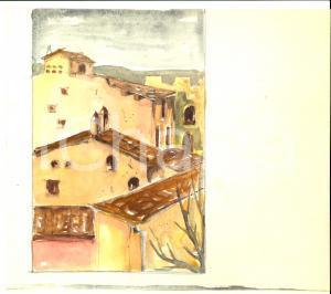 1940 ca Maria Rosa VACCARONE Tetti di un antico borgo *Acquerello 24x21 cm