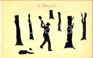 1940 ca ARTI E MESTIERI Il boscaiolo al lavoro *Collage su carta 34x21 cm