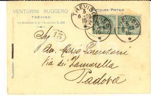 1909 TREVISO Ruggero VENTURINI all'avv. Mario Lorenzoni *Cartolina intestata
