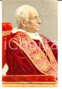 1903 Ritratto di papa LEONE XIII *Cartolina commemorativa ILLUSTRATA FP VG