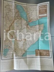 1935 TOURING CLUB ITALIANO Carta dell'Africa Orientale A COLORI 50x70 cm
