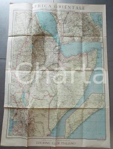 1935 TOURING CLUB ITALIANO Carta dell'Africa Orientale 1:750.000 60x80 cm