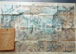 1930 ca TCI Carta zone turistiche d'Italia - CERVINO e MONTE ROSA Mappa 80x50 cm