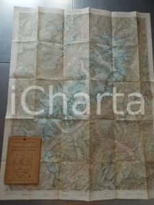 1930 ca TCI Carta zone turistiche Italia - Gruppo del MONTE BIANCO Mappa 70x100
