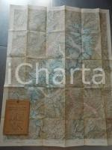 1930 ca TCI Carta zone turistiche d'Italia - CORTINA e le DOLOMITI Mappa 70x60