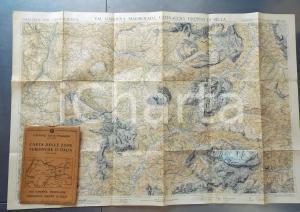 1930 ca TCI Carta zone turistiche d'Italia - VAL GARDENA MARMOLADA Mappa 80x60