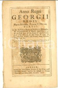 1717 GREAT BRITAIN Act for liberty of exporting cloth and wool from Ireland