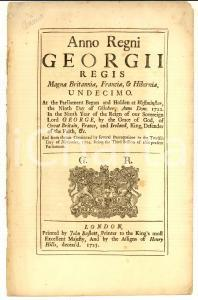 1725 GREAT BRITAIN George II - Act for preventing frauds committed by bankrupts