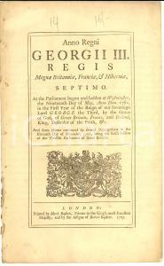 1767 GREAT BRITAIN Act for free importation of rice, sago powder and vermicelli