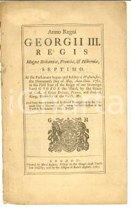 1767 GREAT BRITAIN George III Act for furnishing the King's Troops - NEW YORK