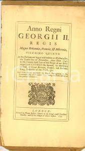 1752 GREAT BRITAIN Act for real estates in England and plantations in America