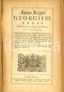 1762 GREAT BRITAIN Act for extending the provisions thereof to American colonies