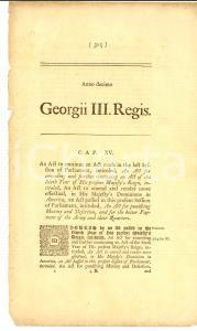1770 GREAT BRITAIN Act to continue an act for punishing mutiny and desertion