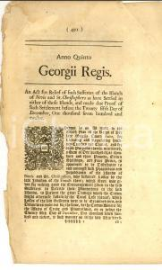 1765 GREAT BRITAIN Act for relief of such sufferers of  NEVIS - ST. CHRISTOPHERS
