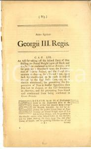 1767 GREAT BRITAIN Act for exportation of teas to Ireland and America