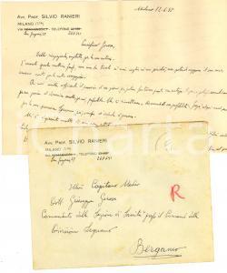 1955 MILANO Lettera avv. Silvio RANIERI all'amico Giuseppe GEROSA *Autografo