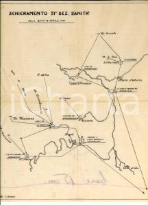 15 Aprile 1944 WW2 Schieramento 51^ Sezione SANITA' a CASTEL SAN VINCENZO *Mappa