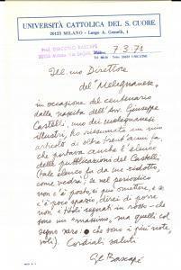1978 MILANO Giacomo Carlo BASCAPE' su centenario Giuseppe CASTELLI *Autografo