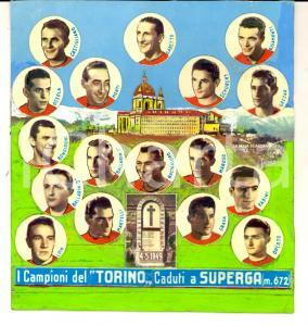 1955 ca TRAGEDIA SUPERGA Collage campioni del TORINO caduti *Cartoncino dipinto