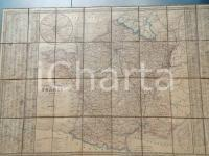 1845 FRANCE Carte routière et administrative *Mappa su tela DOPTER 80x50 cm