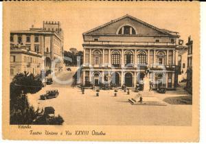 1945 VITERBO Teatro Unione e via XXVIII Ottobre *Cartolina ANIMATA AUTO FG VG