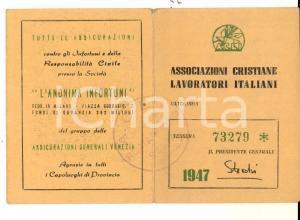 1947 ROMAGNANO SESIA Tessera ACLI - Gaudenzio BIANCHI operaio