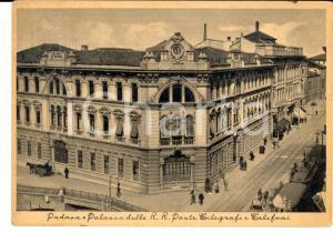 1941 PADOVA Palazzo delle REGIE POSTE e Telegrafi *Cartolina ANIMATA FG