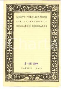 1922 NAPOLI Casa Editrice Riccardo RICCIARDI - Pubblicitario