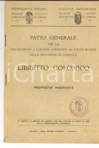 1930 ca COSENZA Patto generale per conduzione fondi rustici *Libretto colonico