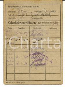 1945 WW2 EISENWERKE OBERDONAU GMBH Tessera dell'operaio Tommaso ROSSI