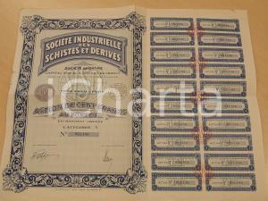 1933 PARIS Société Industrielle des Schistes *Certificato azionario cedole