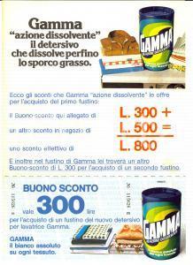1976 Detersivo GAMMA per lavatrice - Volantino pubblicitario con buono sconto