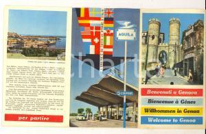 1961 GENOVA Pieghevole ILLUSTRATO con mappa *Pubblicitario benzinai AQUILA